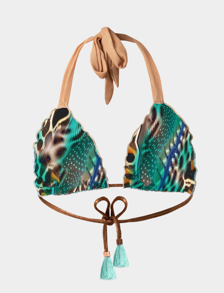 Elin Ritter Ibiza Bikinis Sustainable green print bikini tie triangle top. Made with regenerated nylon in Ibiza