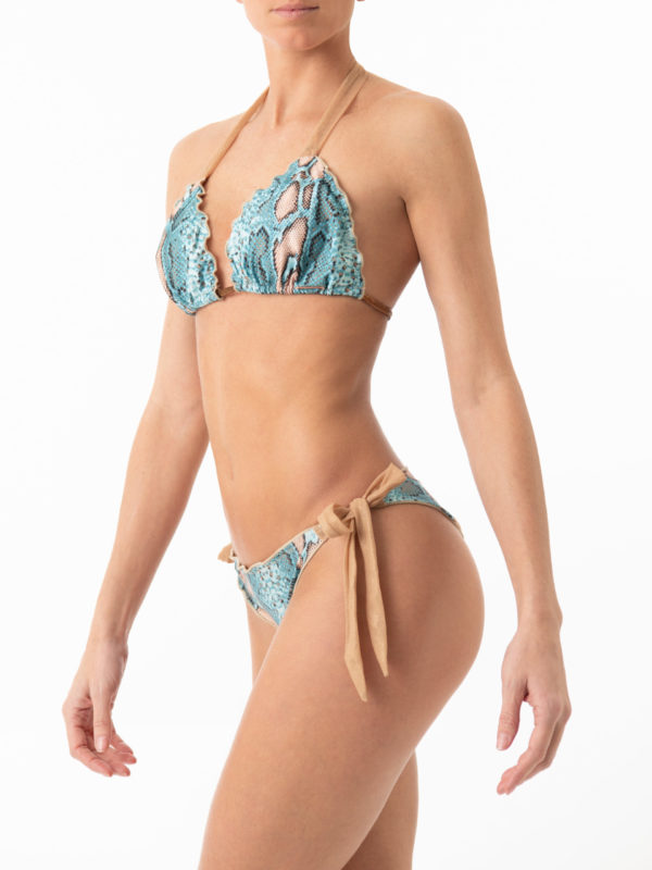 Turquoise snake print bikini ethically made in Ibiza