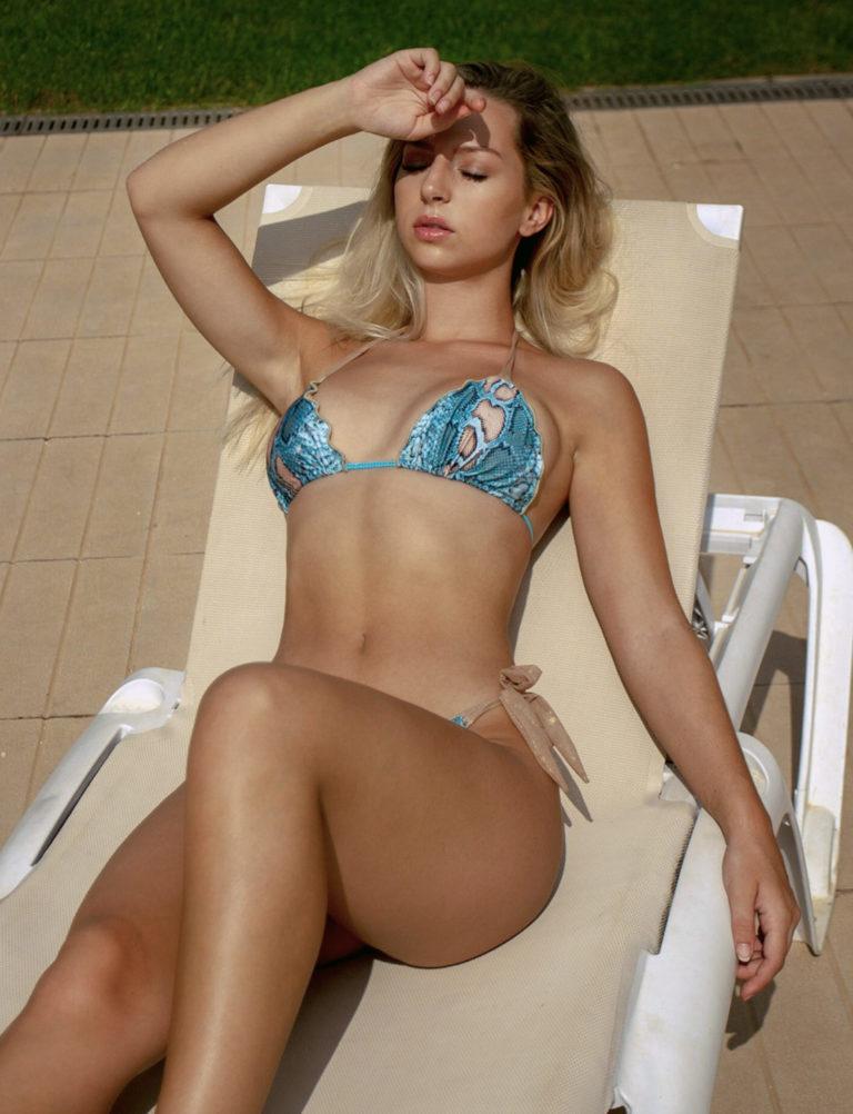 Turquoise snake print bikini ethically made in Ibiza