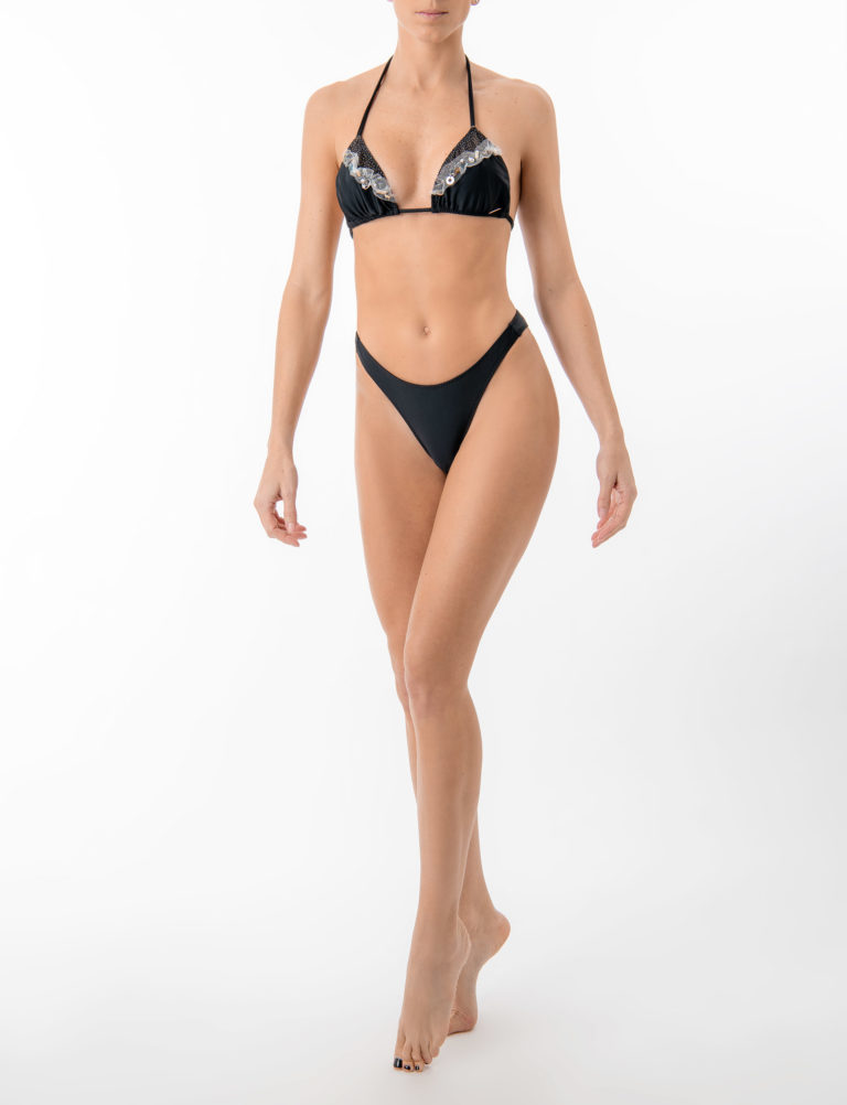 Elin Ritter Ibiza Bikinis high leg black seamless bikini bottoms. Made in Ibiza