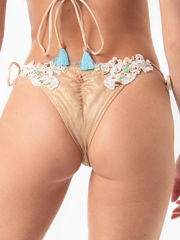 Ibiza Boho Style Lace Hand Beaded Bikini bottoms by ELIN RITTER. Made in Ibiza