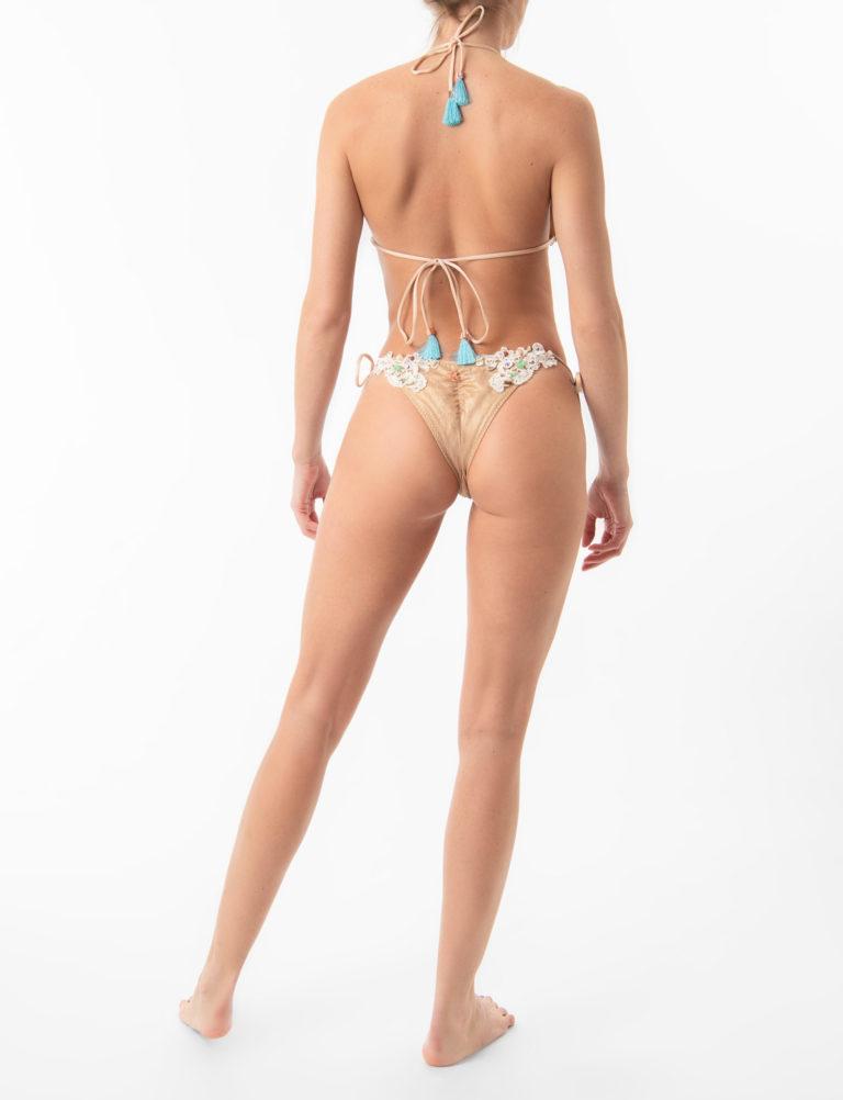 Ibiza Boho Style Lace Hand Beaded Triangle Bikini Top by ELIN RITTER. Made in Ibiza
