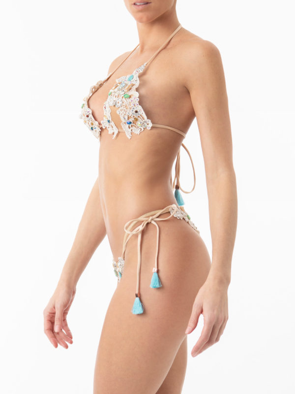 Ibiza Boho Style Lace Hand Beaded Triangle Bikini Top by ELIN RITTER. Made in Ibiza