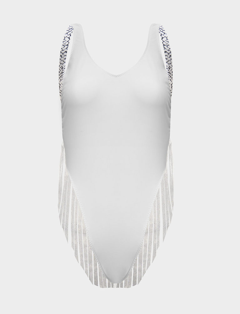 Eco High Leg White Island Swimsuit by ELIN RITTER. Made in Ibiza