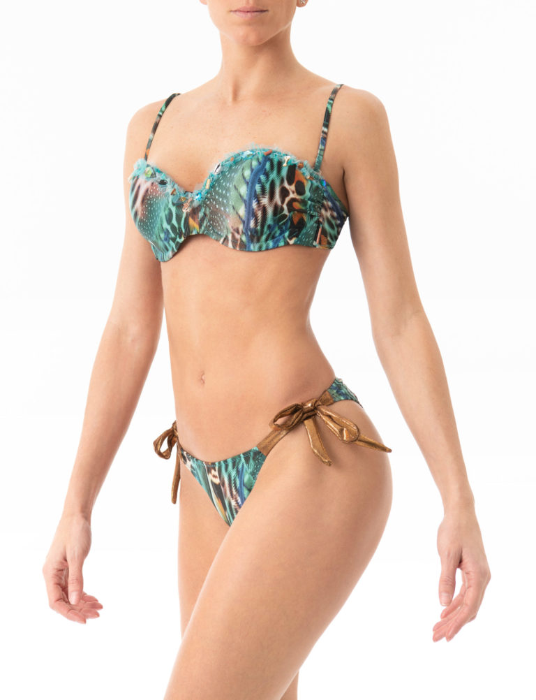 Made with love in Ibiza, this striking animal print bikini made with Econyl® features a flattering Brazilian butterfly cut at the back that flatters your natural shape.