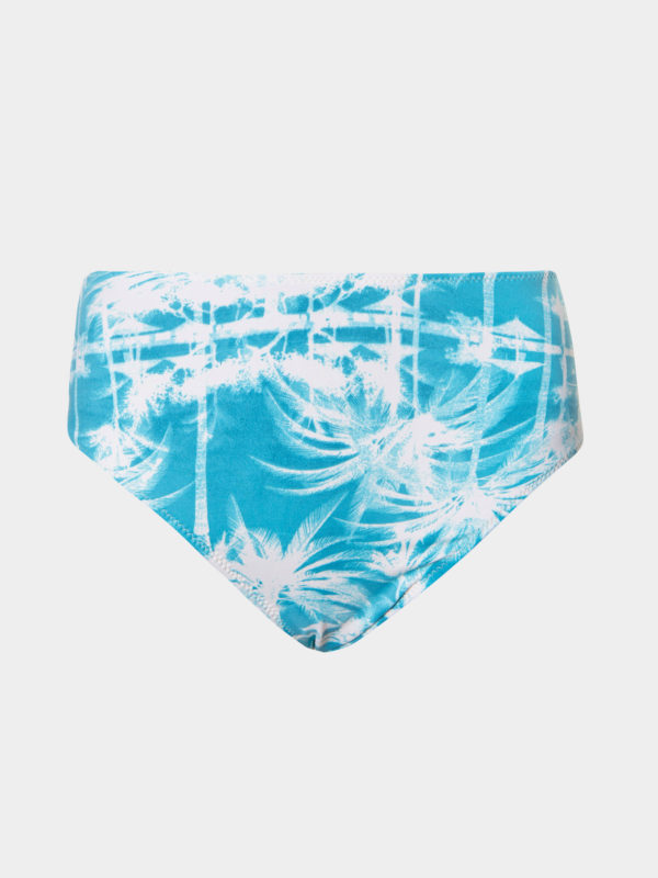 Elin Ritter Ibiza Bikinis high waist turquoise palm tree print bikini bottoms culottes. Made in Ibiza