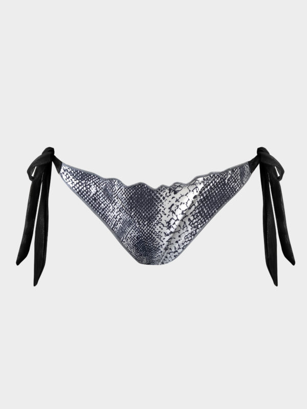 Elin Ritter Ibiza Bikinis black and white snake print bikini tie side bottoms.Made in Ibiza