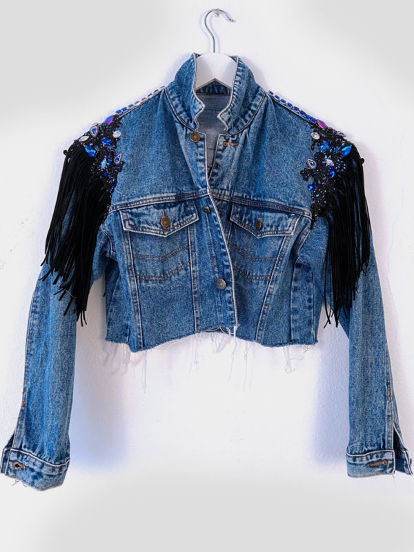 ELIN RITTER IBIZA Denim upcycled customized jacket with Swarovski® crystals
