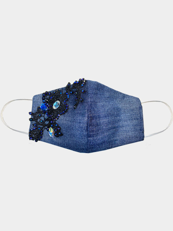 ELIN RITTER IBIZA Denim upcycled customized face mask with Swarovski® crystals