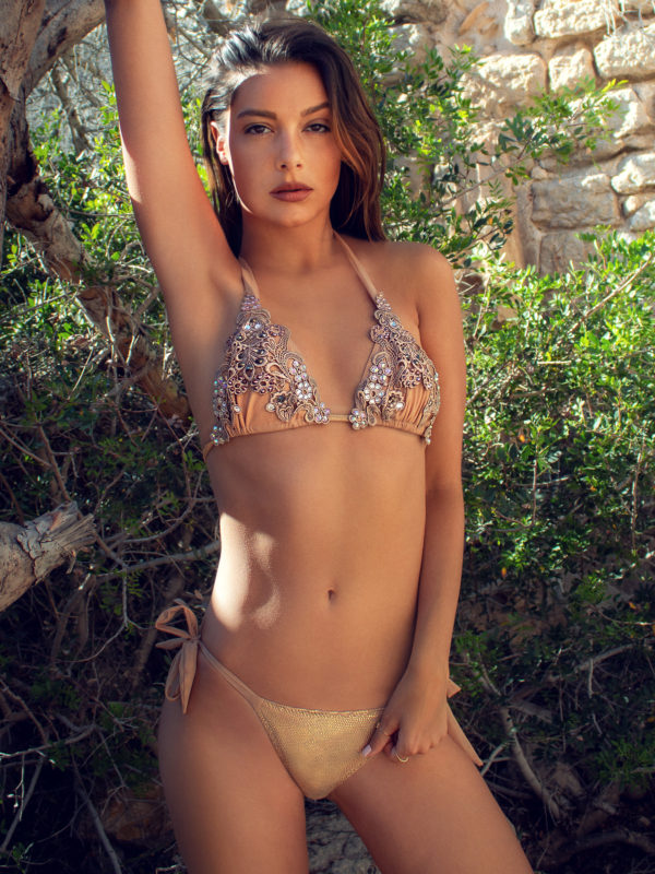 Elin Ritter Ibiza Bikins Boho Gold Metallic Crystal Lace triangle bikini top