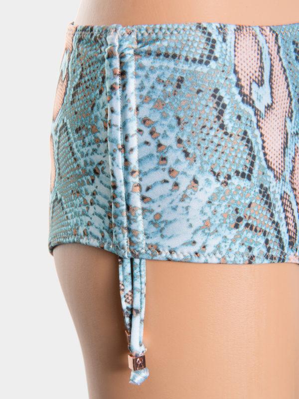 Elin Ritter Ibiza Bikinis high waist snake print turquoise blue bikini drawstring bottoms. Made in Ibiza