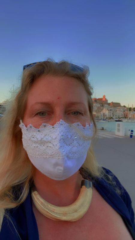 Ibiza face mask. White lace and rhinestone wedding bridal face mask boho