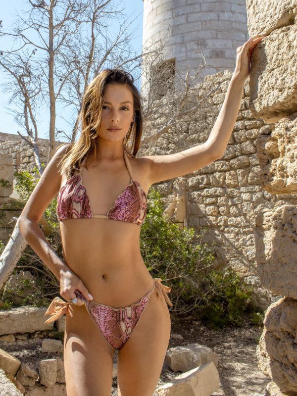 Elin Ritter Ibiza Bikinis pink snake print bikini tie side bottoms.Made in Ibiza