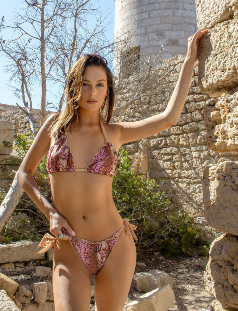 Elin Ritter Ibiza Bikinis pink snake print bikini tie side bottoms.Made in Ibiza