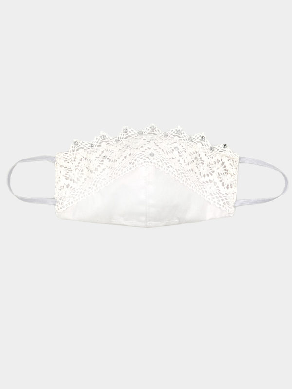 Ibiza face mask. White lace and rhinestone wedding bridal face mask boho