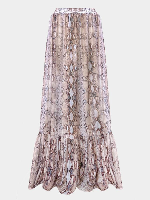 Elin Ritter Ibiza sheer snake print maxi skirt