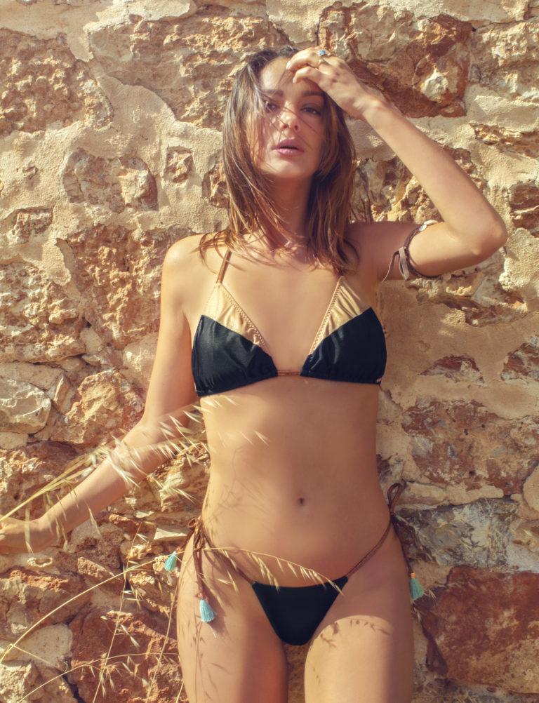 Elin Ritter Ibiza Bikinis Black Gold Metallic triangle bikini top