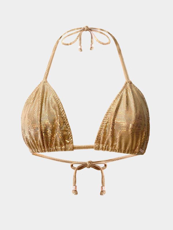 Elin Ritter Ibiza Bikins Gold Metallic Lizard triangle halter bikini top