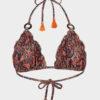Elin Ritter Ibiza Bikinis Sustainable tangerine paisley print bikini. Made with regenerated nylon in Ibiza