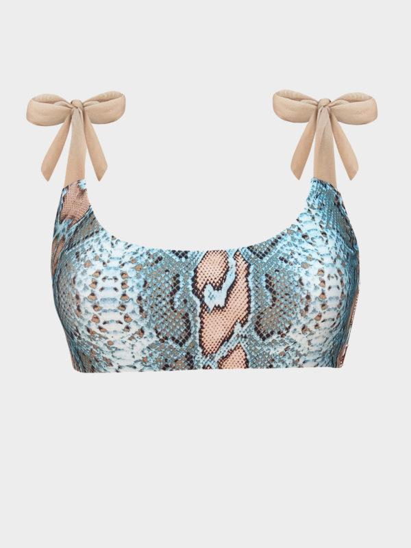 Elin Ritter Ibiza Bikinis turquoise snake print bikini top with shoulder tie straps Made with love in Ibiza