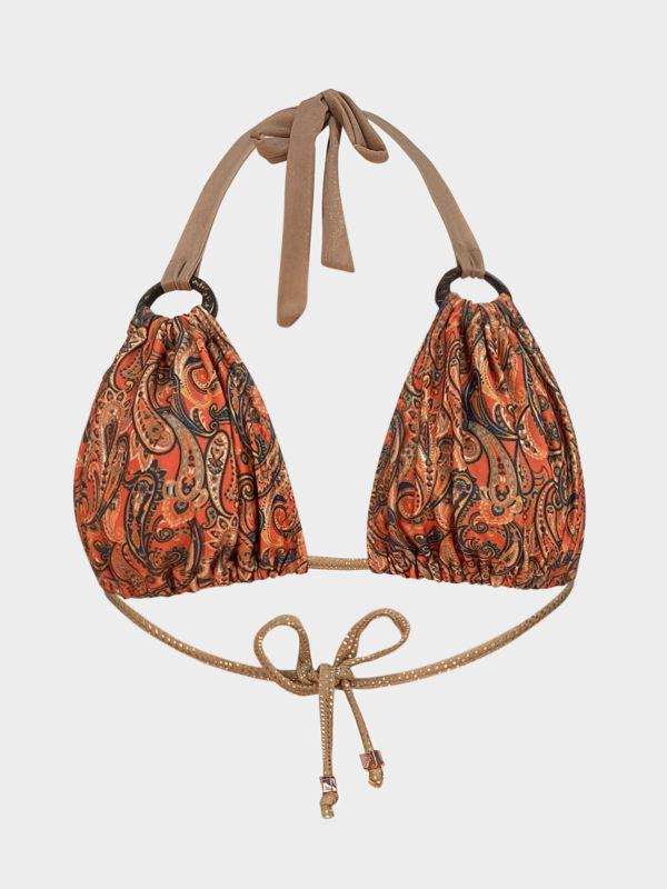Elin Ritter Ibiza Bikinis orange gold paisley print triangle bikini top. Made with love in Ibiza